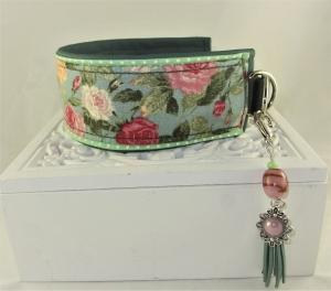 Windhundhalsband  Beauty Rose Hundehalsband Halsband Whippet Galgo Podenco Zugstopp Verschluss oder Klickverschluss Kunststoff oder Metall mit Kunstleder Polsterung - Handarbeit kaufen