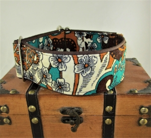 Hundehalsband Umbra Martingale Halsband breites Hundehalsband verstellbar mit Zugstopp Verschluss wahlweise mit Klickverschluss Metall oder Kunststoff    - Handarbeit kaufen