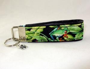 Schlüsselanhänger Rain Forrest Anhänger für Schlüssel Nylonband Schlüsselband mit Schlüsselring unterlegt mit Kunstleder für Kinder, Männer oder Frauen   - Handarbeit kaufen