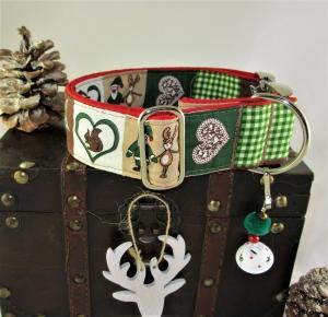 Hundehalsband Advent rot Halsband Weihnachten verstellbar wahlweise Zugstopp Verschluss oder Klickverschluss Kunststoff oder Metallverschluss  - Handarbeit kaufen