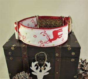 Hundehalsband Santa´s Deer breites verstellbares Windhundhalsband Weihnachtshalsband Martingale mit Zustopp