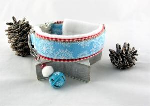 Hundehalsband Flöckchen Halsband verstellbar mit Klickverschluss Kunststoffverschluss oder Metallverschluss wahlweise mit Zugstopp weich gepolstert Fleece Polsterung