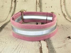 Hundehalsband Nightwalk rosa reflektierend weiches Halsband mit Reflektoren verstellbar Zugstopp wahlweise Klickverschluss Kunststoff oder Metall  - Handarbeit kaufen