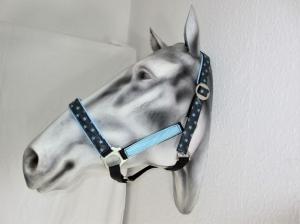 Pferdehalfter Be a Star schwarz/blau handgefertigt abwischbar und wasserfest Stallhalfter Reithalfter Halfter für Pferde verstellbar Größe Wamblut Pony Vollblut    - Handarbeit kaufen