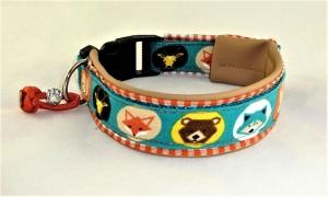 Hundehalsband Wild Life Halsband verstellbar mit Klickverschluss Kunststoffverschluss gepolstert Kunstldederpolsterung  - Handarbeit kaufen