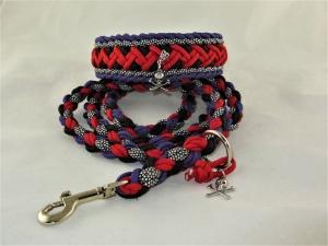 Set Hundehalsband und Leine Skull geflochten Flechthalsband Halsband aus Paracord mit Zugstopp Verschluss  - Handarbeit kaufen