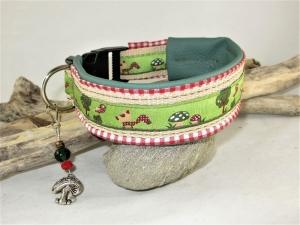 Hundehalsband Glücksfux Halsband verstellbar mit Klickverschluss Kunststoffverschluss oder Metallverschluss wahlweise mit Zugstopp und gepolstert Kunstleder  - Handarbeit kaufen
