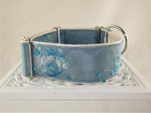 Hundehalsband Elegance blau Windhundhalsband Martingale Halsband breites Zugstopphalsband mit Verstellbarkeit - Handarbeit kaufen