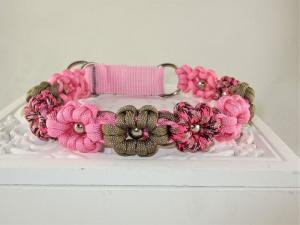 Halsband Flower Power rosa/pink/braun Paracordhalsband geflochten Flechthalsband Hundehalsband Paracord mit Klickverschluss Metallverschluss wahlweise Zugstopp   - Handarbeit kaufen