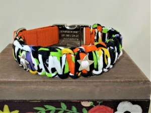 Hundehalsband Grafitti geflochten Flechthalsband Nylonhalsband Halsband mit Klickverschluss Alu Metallverschluss - Handarbeit kaufen