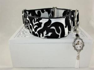 Hundehalsband Barock Halsband Martingale verstellbar mit Zugstopp Zugstopphalsband wahlweise Klickverschluss Kunststoff oder Metall    - Handarbeit kaufen