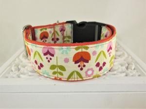Hundehalsband Blomster Halsband Hund Nylon Klickverschluss Kunststoffverschluss oder Metallverschluss wahlweise Zugstopp verstellbar breit     - Handarbeit kaufen