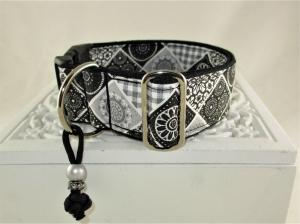 Hundehalsband Chrystal Halsband Hund Nylon Klickverschluss Kunststoffverschluss oder Metallverschluss wahlweise Zugstopp verstellbar breit  - Handarbeit kaufen