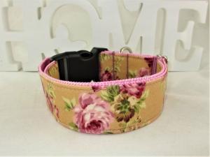 Hundehalsband Wildrose rosa/senfgelb Halsband Hunde abwischbar durch Beschichtung mit Klickverschluss  Kunststoffverschluss o. Metallverschluss wahlweise Zugstopp - Handarbeit kaufen