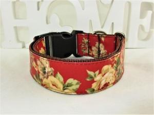 Hundehalsband Wildrose rot/braun Halsband Hunde abwischbar durch Beschichtung mit Klickverschluss  Kunststoffverschluss o. Metallverschluss wahlweise Zugstopp