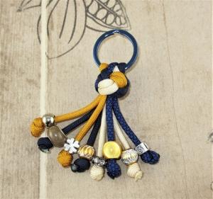 Schlüsselanhänger aus Paracord Anhänger für Schlüssel mit Schlüsselring Taschenbaumler Taschenanhänger blau gelb für Frauen für Mädchen Anhänger für Autoschlüssel für Hausschlüssel - Handarbeit kaufen