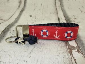 Schlüsselanhänger Schlüsselband Ahoi maritim rot blau Band Anhänger mit Schlüsselring wasserfest für Mädchen für Frauen für Autoschlüssel  - Handarbeit kaufen