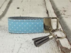 Schlüsselanhänger Schlüsselband Dots grau hellblau Band Anhänger mit Schlüsselring wasserfest für Mädchen für Jungen für Frauen für Autoschlüssel  - Handarbeit kaufen
