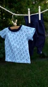 Fröhliches Baby-Set (T-Shirt&Hose) mit Ankern, Größe 56