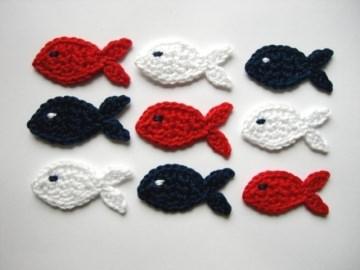 Häkelapplikation, Fische klein