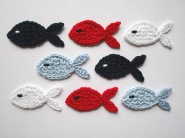 Häkelapplikation, Fische mittelgroß