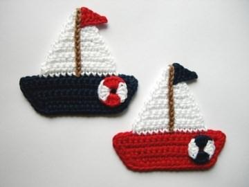 Häkelapplikation, zwei Segelboote