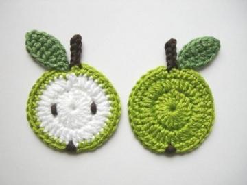 Häkelapplikation, Äpfel, Obst