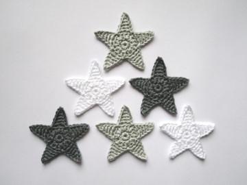 Häkelapplikation, große Sterne