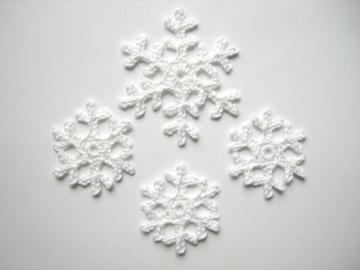 Schneeflockenset gehäkelt, Häkelapplikation