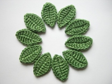 Häkelapplikation, Blätter einzeln