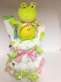 Windeltorte Frosch rosa  personalisiert - Handarbeit kaufen