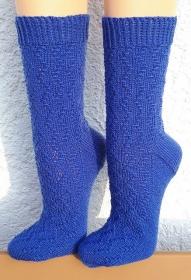 Handgestrickte Socken, Gr. 42/43, mit interessantem Strukturmuster, Stricksocken, von Schwarzwaldmaschen - Handarbeit kaufen