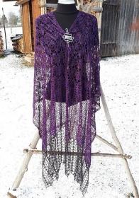Seiden-Stola rechteckig, aus 100% handgefärbter Tussah-Seide, 232 x 62 cm, Schultertuch, Stola, gehäkelt, von Schwarzwaldmaschen (Kopie id: 100278467) - Handarbeit kaufen