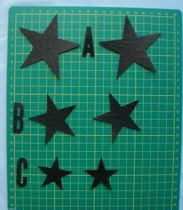 Sterne Applikation aus Kunstleder zum Aufnähen  (Kopie id: 29902)