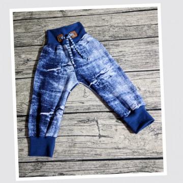 Pumphose Gr. 74 genäht aus einem weichen Jersey in jeansoptik