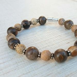 Armband * versteinertes Holz * Leopardenjaspis * Stein * Harmonie  - Handarbeit kaufen