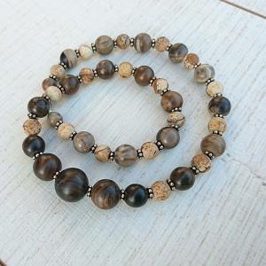 Kette * Halskette  * versteinertes Holz * Leopardenjaspis * Stein * brauntöne * Harmonie - Handarbeit kaufen