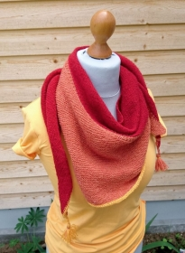 Colour me in - sommerliches Stricktuch in rot und orange GOTS - Handarbeit kaufen