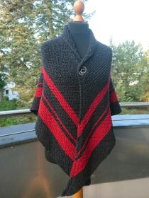 Schultertuch * Stola * Tuch * Stricktuch * Wolltuch * Mittelalter * schwarz und rot * mit Schließe