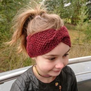 Stirnband * Wolle * Leinen * GOTS * Kinder * Erwachsene * bordeaux - Handarbeit kaufen