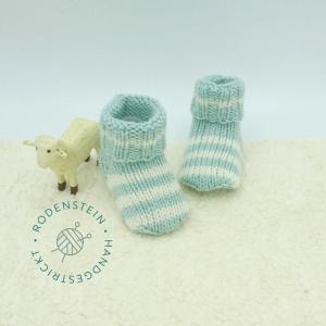 kuschelweiche Babysocken * Ringelsocken * Wollsocken * in pastelligem türkis für 0 bis 12 Monate - Handarbeit kaufen