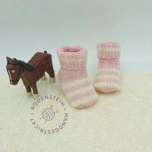 kuschelweiche Babysocken * Ringelsocken * Wollsocken * in zartem rosa für 0 bis 12 Monate - Handarbeit kaufen