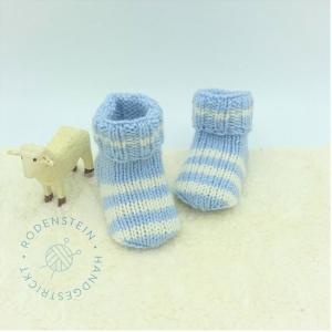 kuschelweiche Babysocken * Ringelsocken * Wollsocken * in zartem hellblau für 0 bis 12 Monate - Handarbeit kaufen