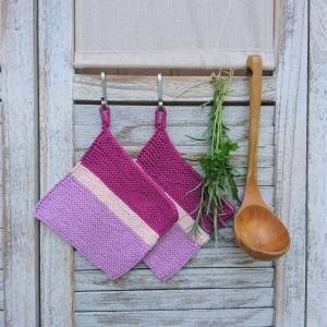 Set Topflappen * oven cloth * pot holder * in Beerenfarben - Handarbeit kaufen