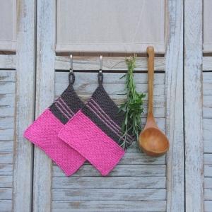 Set Topflappen * oven cloth * pot holder * in fuchsia und grau - Handarbeit kaufen