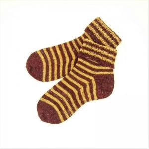 Socken * Stricksocken * Ringelsocken * GOTS * Wolle * Leinen in bordeux/bernstein - Handarbeit kaufen