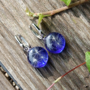 Blaue Transformer-Ohrringe mit Pusteblumen. - Handarbeit kaufen