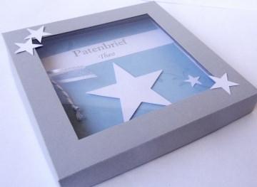 Patenbrief in Geschenkkarton Stern mit individuellen Daten und Texten