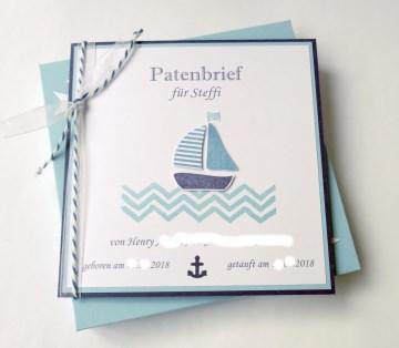 Patenbrief in Geschenkkarton Boot mit individuellen Daten und Texten (Kopie id: 100048630)