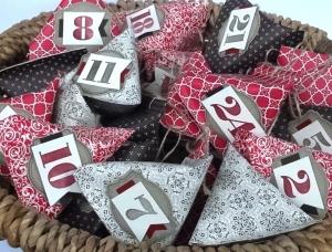 Adventskalender edel edel vintage rotbraun klassich Schachteln Spitztüten